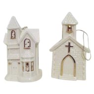 Set of 2 Porcelain Church Christmas Ornaments by Dillard's