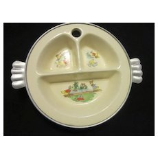 Vintage Excello Ceramic Food Warmer Dish for Young Child