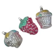 Set of 3 West German Christmas Ornaments