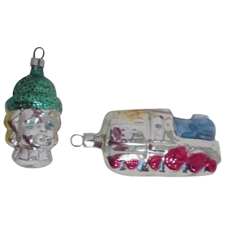 Two West German Glass Christmas Ornaments Train And Girl