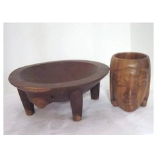 Vintage Wood Carved Nut Bowl and Wood Carved Mug