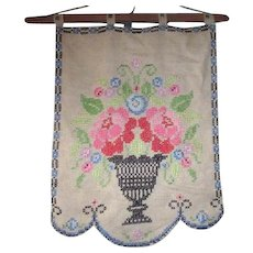 Hand Stitched Wall Hanging Cross Stitch Floral Bouquet in Vase
