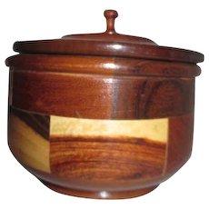 Wood Inlaid Lidded Round Box