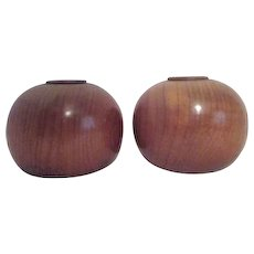 Pair of Round Ball Myrtlewood Candle Holders