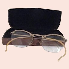 Pair of Vintage Eyeglasses with Gold Filled Etched Frames in Case