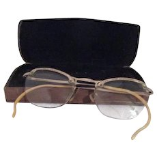Pair of Vintage Eyeglasses with Gold Filled Etched Frames in Case
