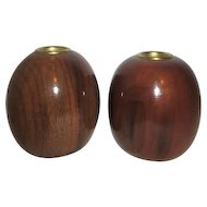 Pair of Tall Ball Myrtlewood Candle Holders
