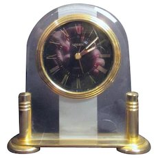 Linden Quartz Clock on Goldtone Stand
