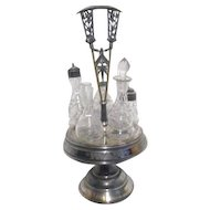Antique Silver Plated Condiment Set with 5 Bottles on Carrying Tray