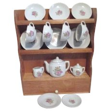 Children's Dishes Tea Set in Wooden Hutch Made in Japan Original Box Set of 4