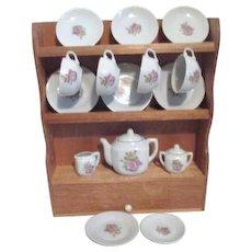 Children's Tea Set in Wooden Hutch Made in Japan Original Box Set of 4