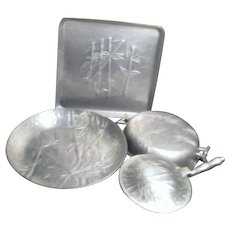 Hammered Aluminum Trays and Silent Butler with Bamboo Pattern