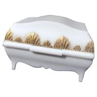 White Casket Box with Gold Trim to Hold Two Rings Zale's Jewelers