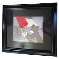 Framed Tom and Jerry Hanna Barbera Signed Cel Yankee Doodle Mouse