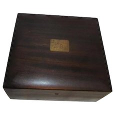 Dark Wood Oak or Walnut Poker or Game Box with Clay (composition) Chips 2 Decks Cards