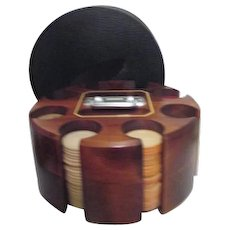 Dark Wood Poker Chip and Card Caddy Carousel with Chips Cards and Cover