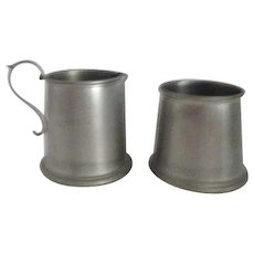 B & M Pewter Creamer and Sugar