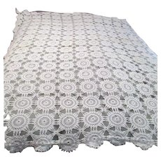 Large Hand Crocheted Tablecloth Wheel Pattern