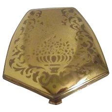 American Beauty Series Goldtone Compact and Powder Puff in Original Bag