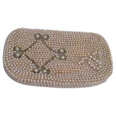 Faux Pearl and Beaded Clutch Purse Zippered Evening Bag