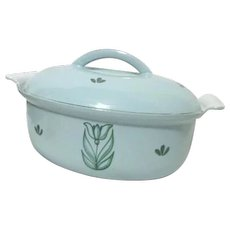 Royal DRU of Holland Blue Tulips Cast Iron Covered Casserole