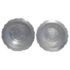 Set of Two Hammered Aluminum Bowls with Chrysanthemum Design