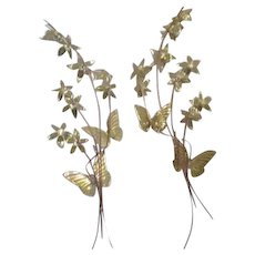 Pair of Brass and Copper Butterflies and Flowers Wall Hangings