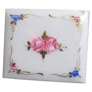 Square Powder Compact with White Lid with Hand Painted Roses