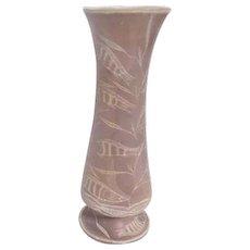 Stone Vase with Undersea Scene Carved Design