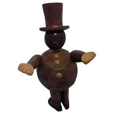 Wood Man with Top Hat Rotating Body with Reversed Feet 1958