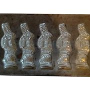 Iron Chocolate Mold of 5 Easter Bunnies