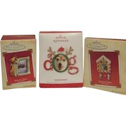 Set of Three Hallmark Christmas Tree Ornament Photo Holders for Dogs