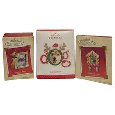 Set of Three Hallmark Christmas Tree Ornament Photo Holders for Dogs