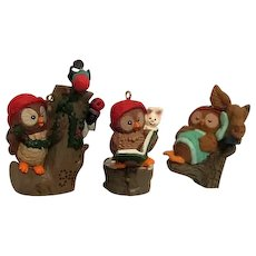 Set of 3 Hallmark Christmas Owliver Ornaments