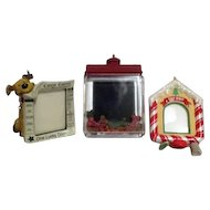 Set of Three Hallmark Christmas Tree Ornaments Photo Holders for Dogs