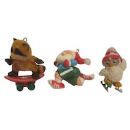 Set of Three Hallmark Christmas Tree Ornaments Sports