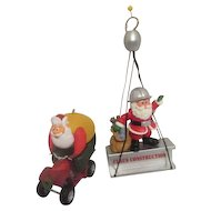 Two Hallmark Santa Claus Activity Christmas Tree Ornaments