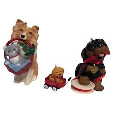 Set of 3 Dog Christmas Tree Ornaments from Hallmark