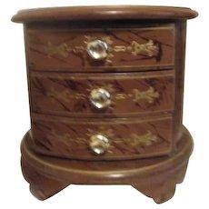 Round Wood Chest Jewelry Box