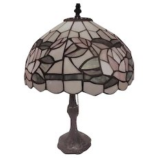 "17"" Electric Lamp with Pastel Mosaic Design Shade"