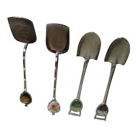 Set of 4 Collector's Spoons from 4 U.S. States Shovel Shapes