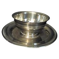 Silverplate Small Bowl with Attached Plate