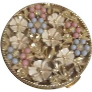 Ornately Decorated Goldtone Compact with Beads and Rhinestones in Flowers