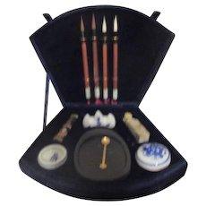 Asian Calligraphy Set in Deep Royal Blue Velvet Box