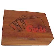 Divided Wood Box with Two Decks of Playing Cards