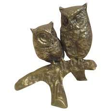 Brass Two Owls on a Branch