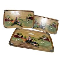Set of 3 Hand Painted Wood Trays with Japanese Scene