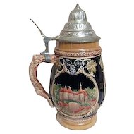 Pewter Lidded Beer Stein from Luxembourg with Three Scenes