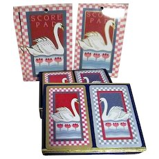 Two Double Deck Congress Playing Cards with 4 Score Pads for Bridge Swan Motif