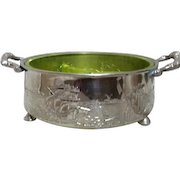 Silver Plated Dutch Motif Double Handled Frame with Uranium Florescent Glass Divided Server